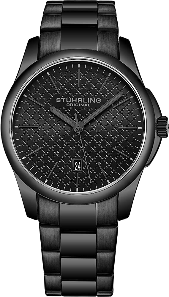 Stuhrling Original Mens Slim Dress Watch Stainless Steel Case and Band - Black Sport Watches Analog Watch Dial with Date - Minimalist Design for Men Argyle Collection