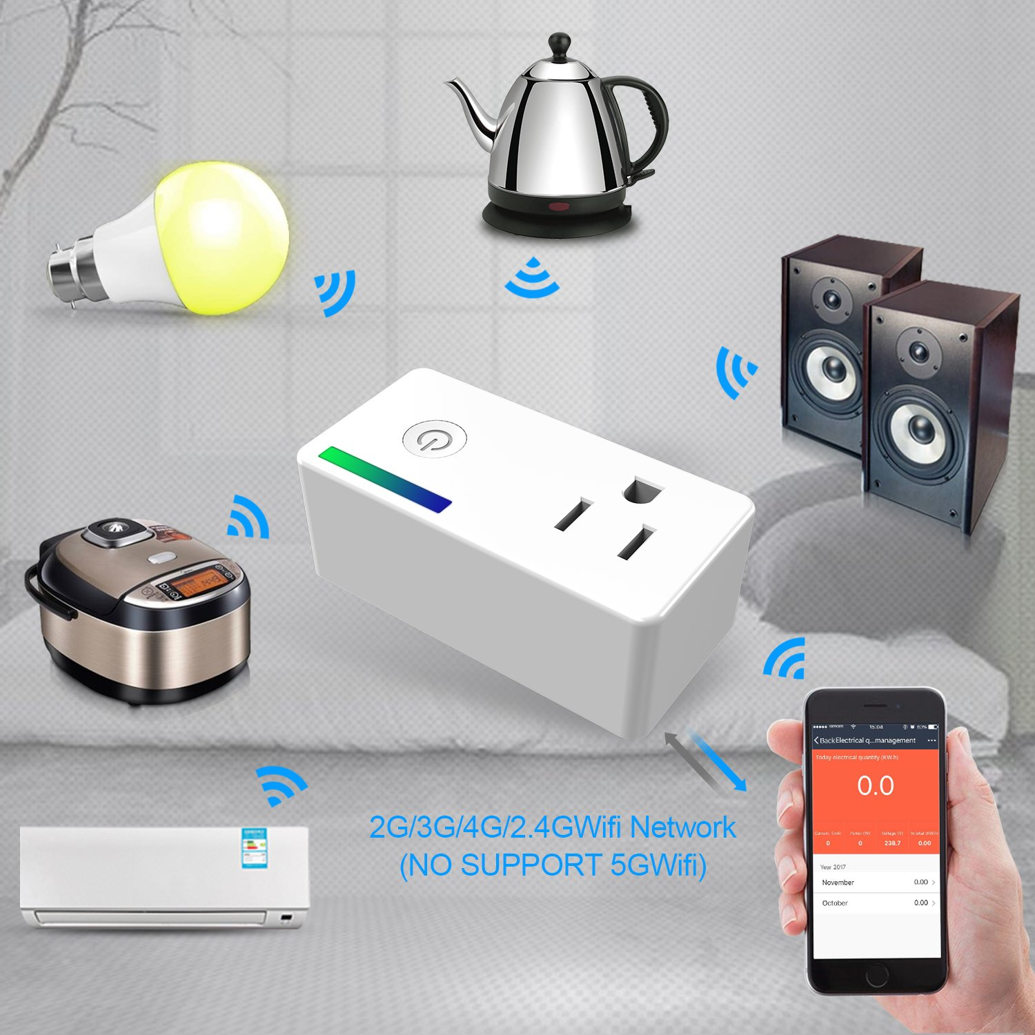 WiFi Smart Plug, Mini Smart Socket Outlet with Energy Monitoring, Compatible with Alexa and Google Assistant, Timing Function, Remote Control Your Devices Anywhere, No Hub Required - 2 Packs
