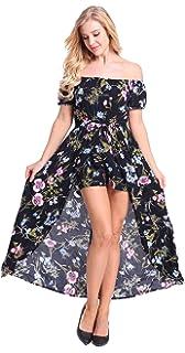c010dca6881 PhiFA Women s Off Shoulder Party Maxi Romper Dress Split Floral Casual  Jumpsuit