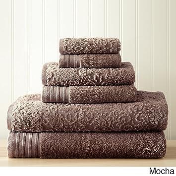 Costa del Pacífico Textiles Jacquard/sólido Boho Juego de Toallas, algodón, marrón Claro, único, Juego de 6: Amazon.es: Hogar