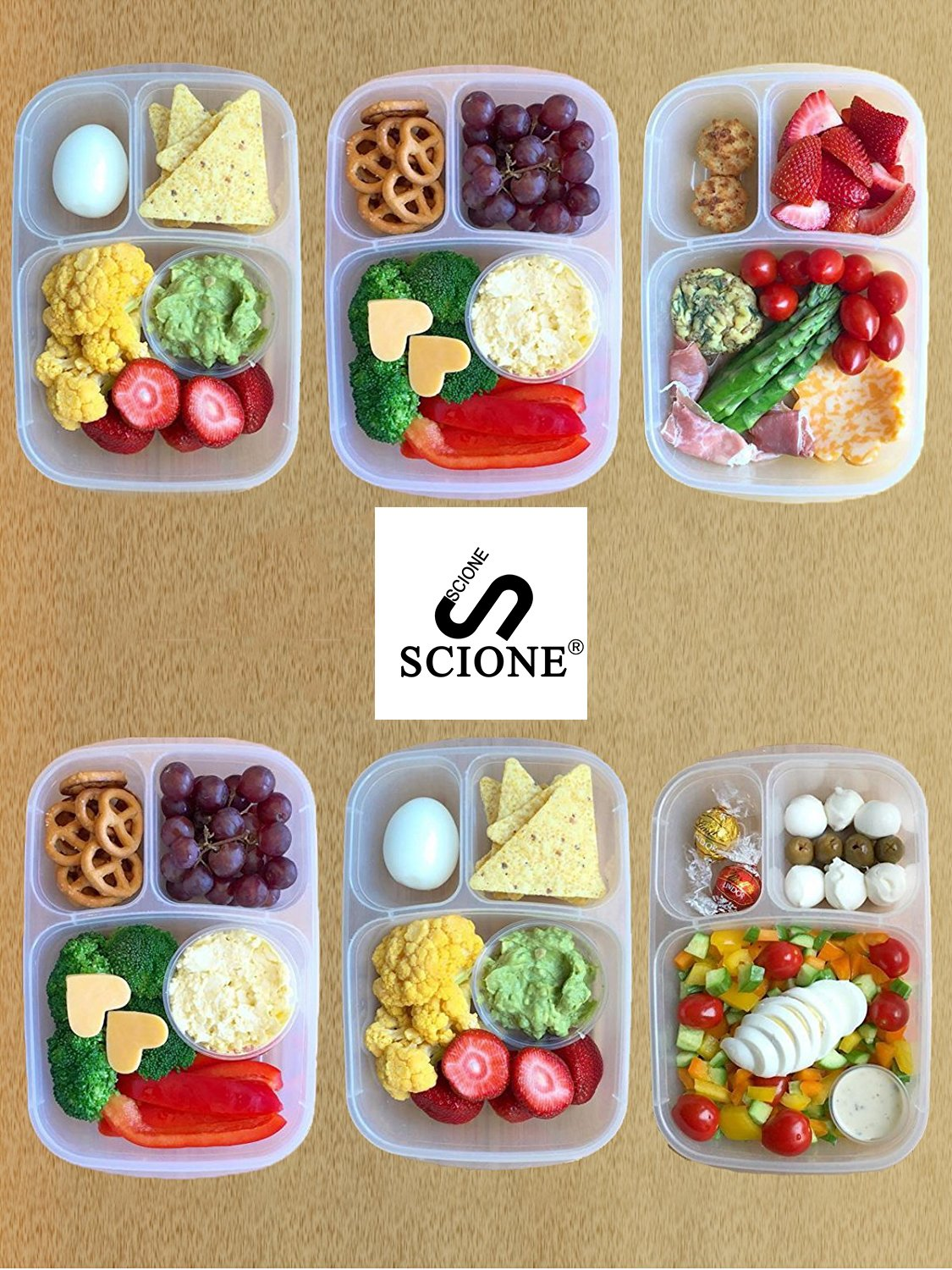 Meal Prep Containers 3 Compartment 10 Pack Food Prep Containers with Lids Portion Control Reauable Freezer Food Storage Plastic Salad Stackable Bento Lunch Box, Microwave, Dishwasher Safe by SCIONE (Image #2)