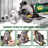 """Circular Saw Cordless, POPOMAN 4-1/2"""" Mini Saw 20V, 1H Fast Charger, 9.5'' Base Plate, One Hand Control, 2.0Ah Battery, Laser Guide, Cutting Depth 1-11/16'' (90°), 1-3/8'' (0°-45°), Wood metal Cuts"""