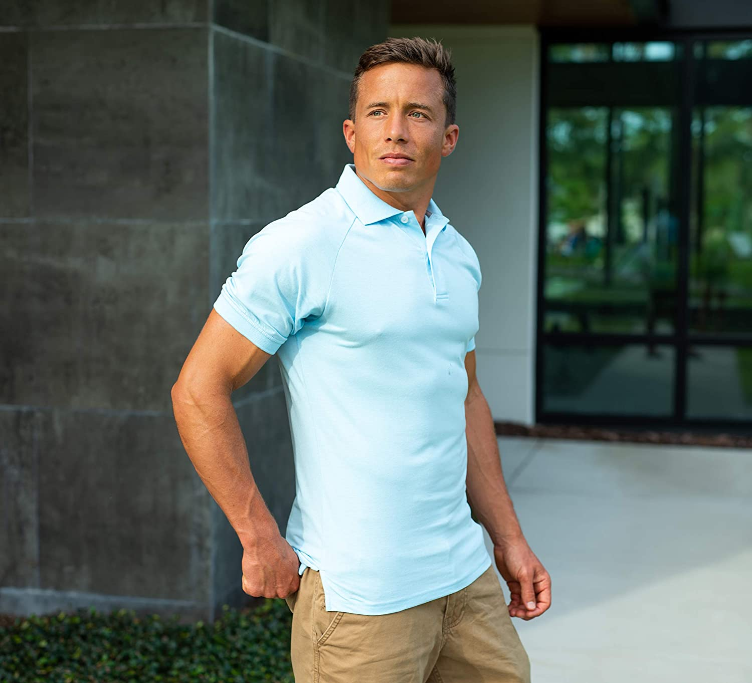 Comfortably Collared Mens Perfect Slim Fit Short Sleeve Soft Fitted