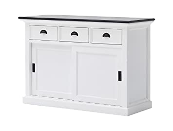 novasolo halifax contrast pure white mahogany wood sideboard dining buffet with storage sliding doors and - White Buffet