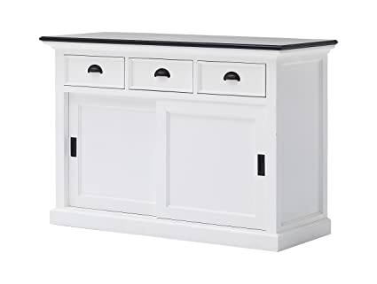 NovaSolo Halifax Contrast Pure White Mahogany Wood Sideboard Dining Buffet  With Storage : Sliding Doors And