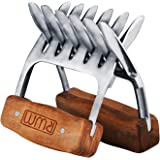 Rwm Stainless Steel Meat Shredder Claws - Metal Meat Claws Handler Forks with Wooden Handle for Food Shredding, Pulling, Hand