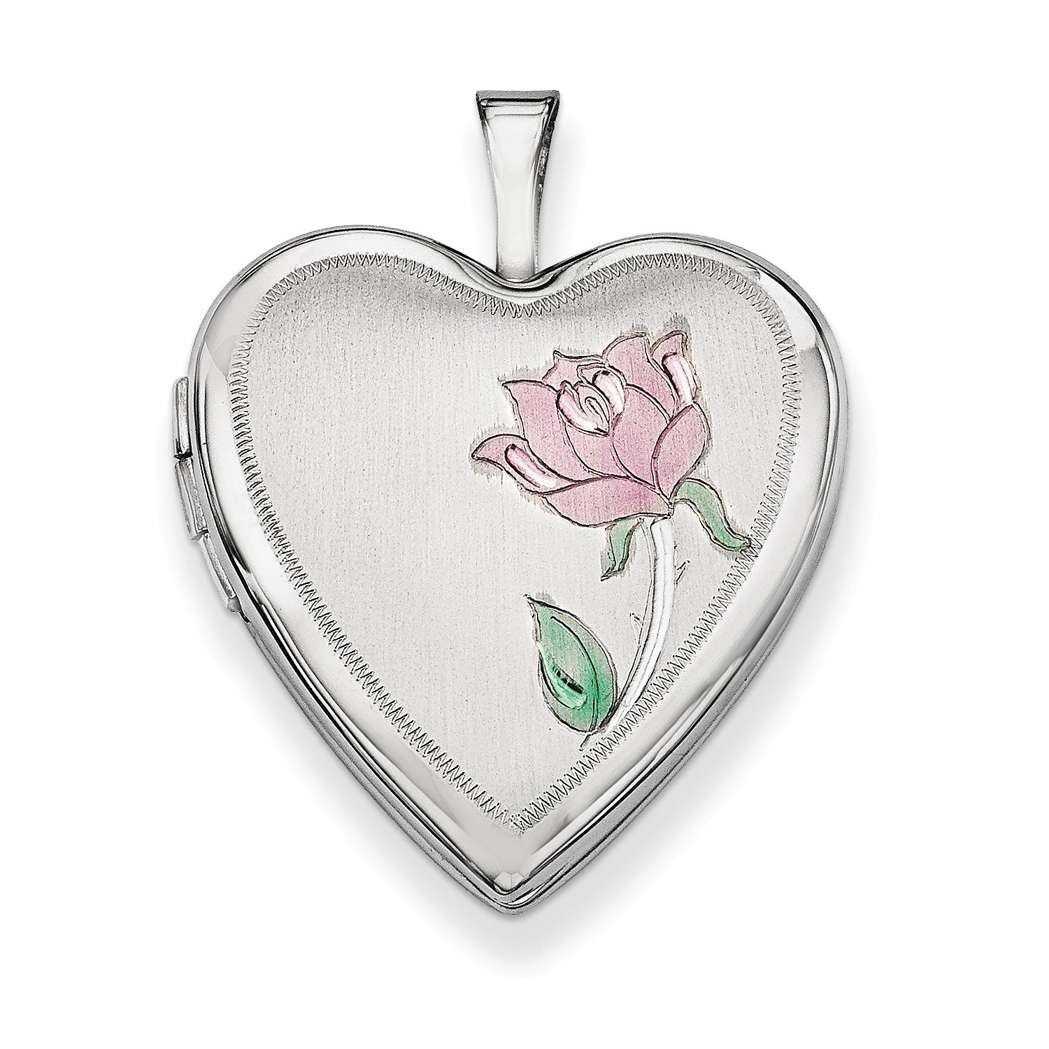Roy Rose Jewelry 14K Yellow Gold 20mm White Gold Enamel Rose Heart Locket 24x20mm by Roy Rose Jewelry