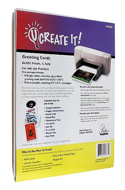 Amazon u create it gloss finish greeting cards half fold 10 gloss finish greeting cards half fold 10 pack inkjet printer paper office products m4hsunfo
