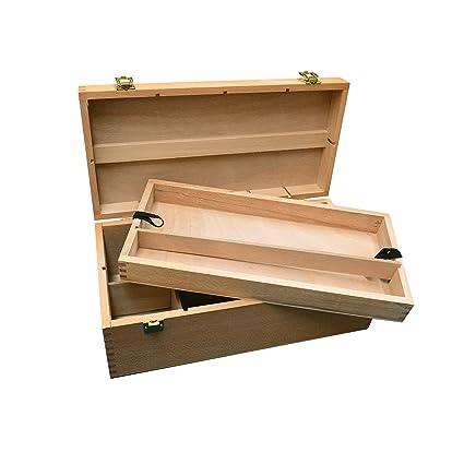 Caja de almacenaje de madera con 8compartimentos y bandeja extra&iacute ...