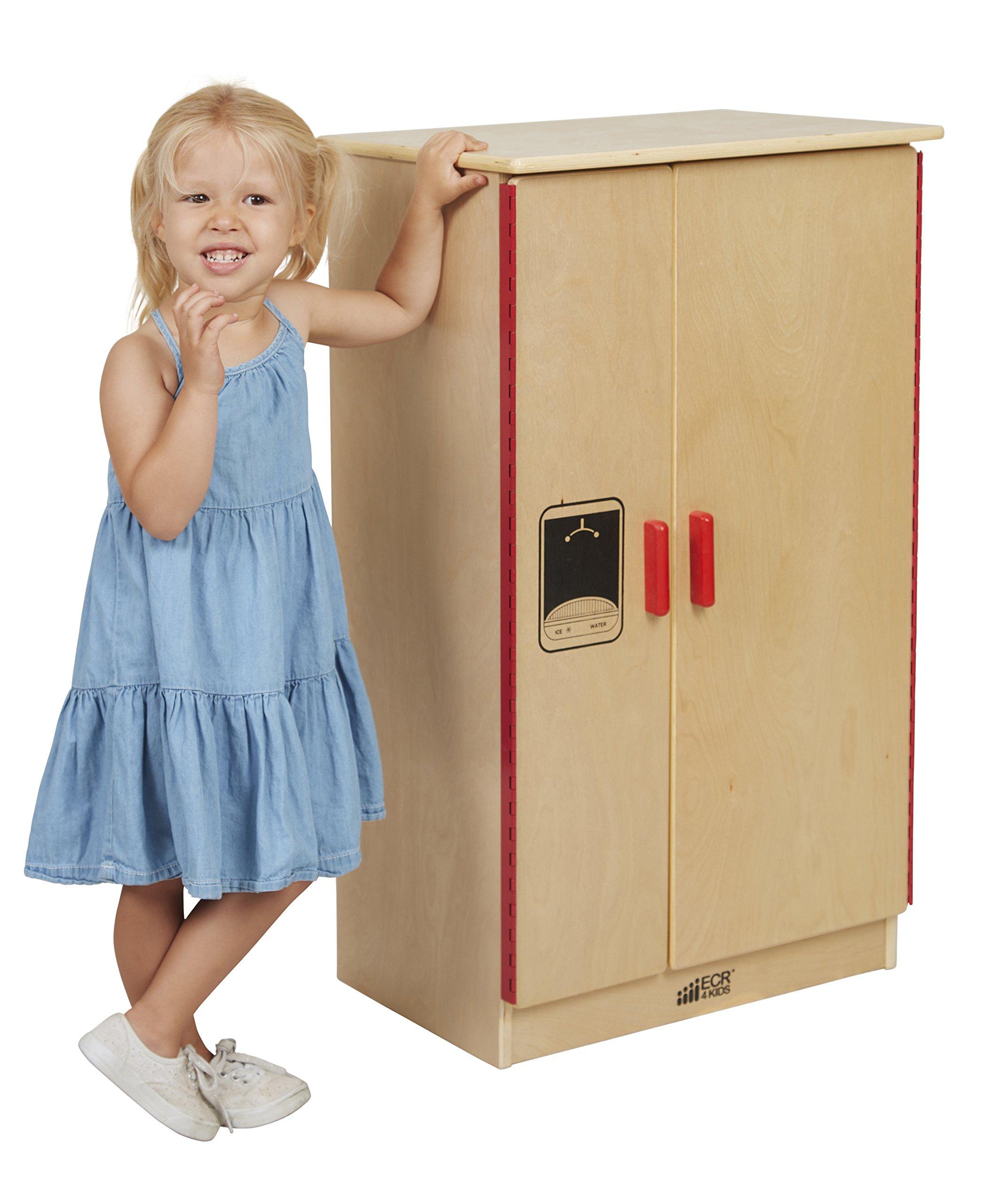 ECR4Kids Birch Pretend Play Kitchen Refrigerator Playset for Daycare, Natural