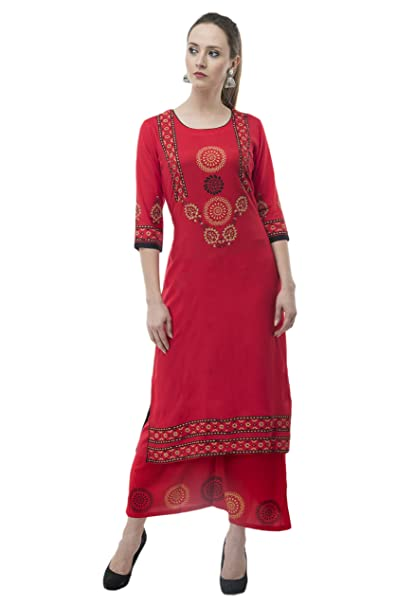 9427029e88140 Leera Women Rayon Kurti and Plazo Set- Red  Amazon.in  Clothing ...