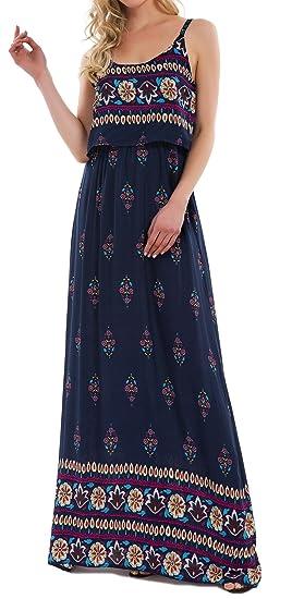 9ec2539e03d KorMei Damen Sommerkleid Ärmellos Boho A-Line Lang Kleid Maxikleid Party  Strandkleid Blau S