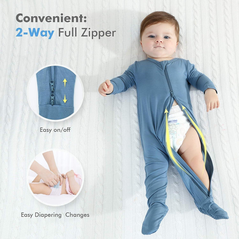 Bamboo Rayon HAPIU Baby Footed Pajama Zip Front Sleep N Play Sleeper
