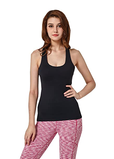 9dcf07adafa75 Lotus Instyle Deep U Neck Ladies Gym Running Tank Top Sleeveless Yoga Vest  with Paddings  Amazon.co.uk  Clothing