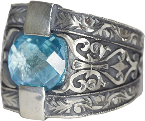 Silver mens unique  Rings 925K Sterling Silver-aqua stone ring-silver handmade steel pen craft ring