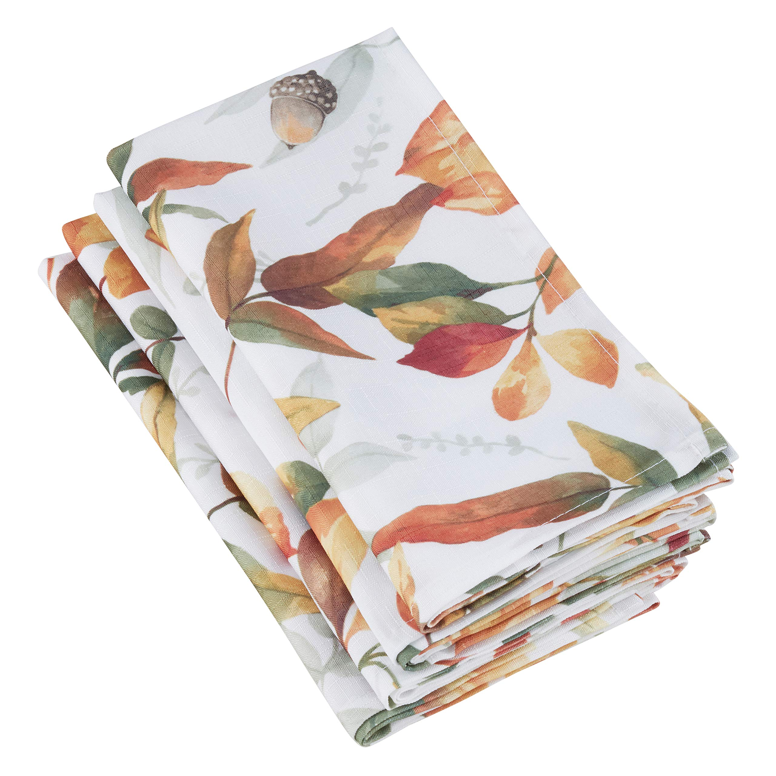 SARO LIFESTYLE 5050.M20S Feuilles Collection Fall Leaf Design Dinner Table Napkins (Set of 4), 20'', Multi