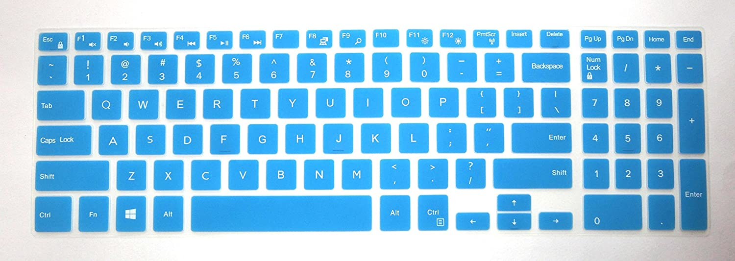 BingoBuy US layout Keyboard Protector Skin Cover for 15.6'' Dell Inspiron 15-3565 15-7559 15-7588 15-3552 15-5555 15-7567 15-7577 15-5570 17-5770 17-5755 17-5759 with Card Case (blue)