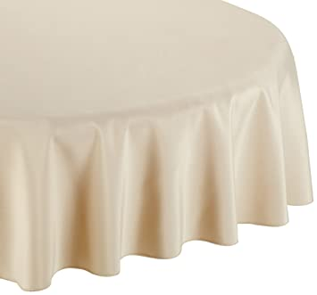 LinenTablecloth 90 Inch Round Polyester Tablecloth Beige
