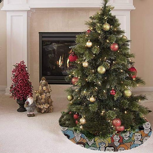 Falda de árbol de Navidad Colorido Feliz Moda Retro Gente Imprimir ...