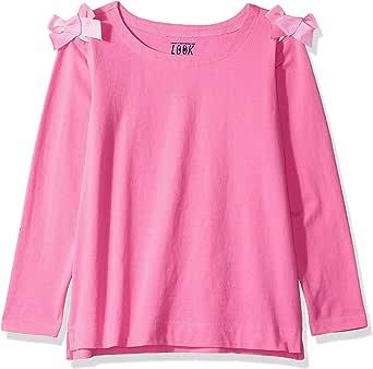 Marca Amazon / J. Crew - LOOK by crewcuts Camiseta de manga 3/4 con lazos en los hombros para niña