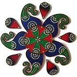 Diwali Decorations Wooden Handmade Rangoli - 11 Piece - EthnicAvenue