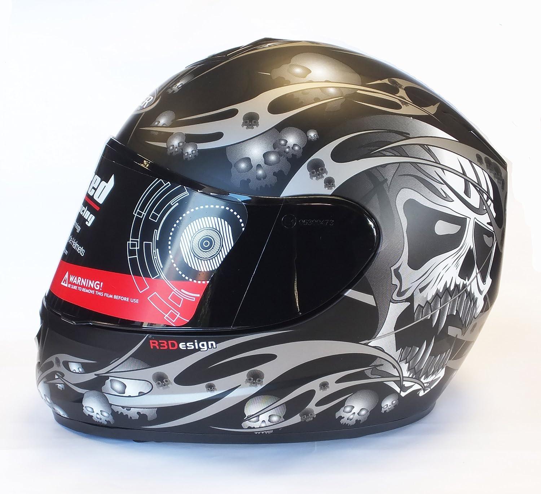 VIPER RS-44 SKULL EVO FULL FACE MOTORCYCLE MOTORBIKE CRASH HELMET SILVER SMALL