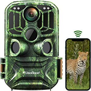 Trail Camera WiFi, Usogood 24MP 1296P Infrared Night Vision Hunting Camera Motion Detector Send Picture to Phone, Game Wildlife Cam with Timer, Time Lapse, 120° Wide Angle, IP66 Waterproof, 940nm