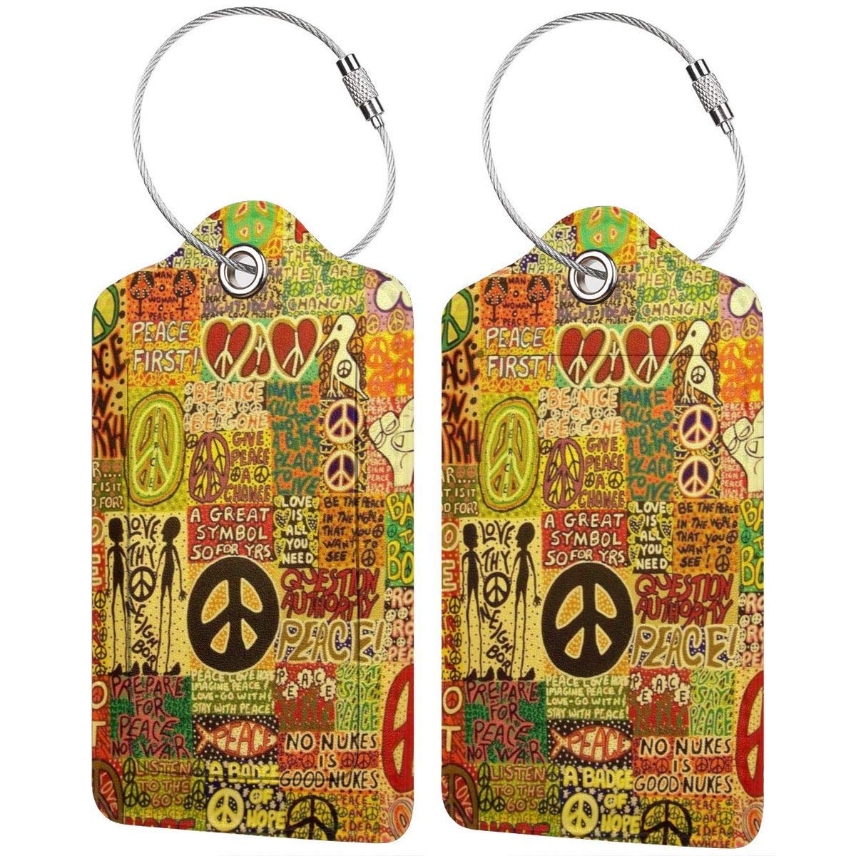 Godzigod Luggage Tags PU Leather Suitcase Card Tag with Stainless Steel Loop Travel Baggage Handbag Tag Labels Travel Accessories Peace Rocks Love Not War Hippie