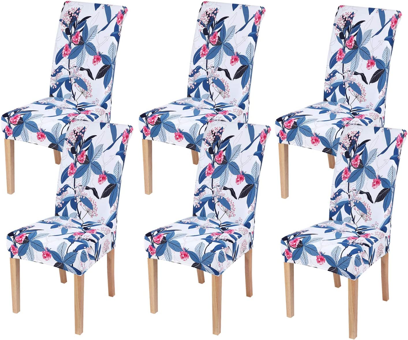 smiry 6 Pack Printed Dining Chair Covers, Stretch Spandex Removable Washable Dining Chair Protector Slipcovers for Home, Kitchen, Party, Restaurant (Blue with White)