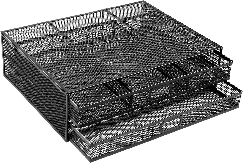 HUANUO Soporte para Monitor 2 Cajones de Almacenamiento - Organizadores de Escritorio de Malla Metálica, Soporte para Computadora Portátil, Computadora Portátil, PC, Impresora, Escáne, MAX.15 kg