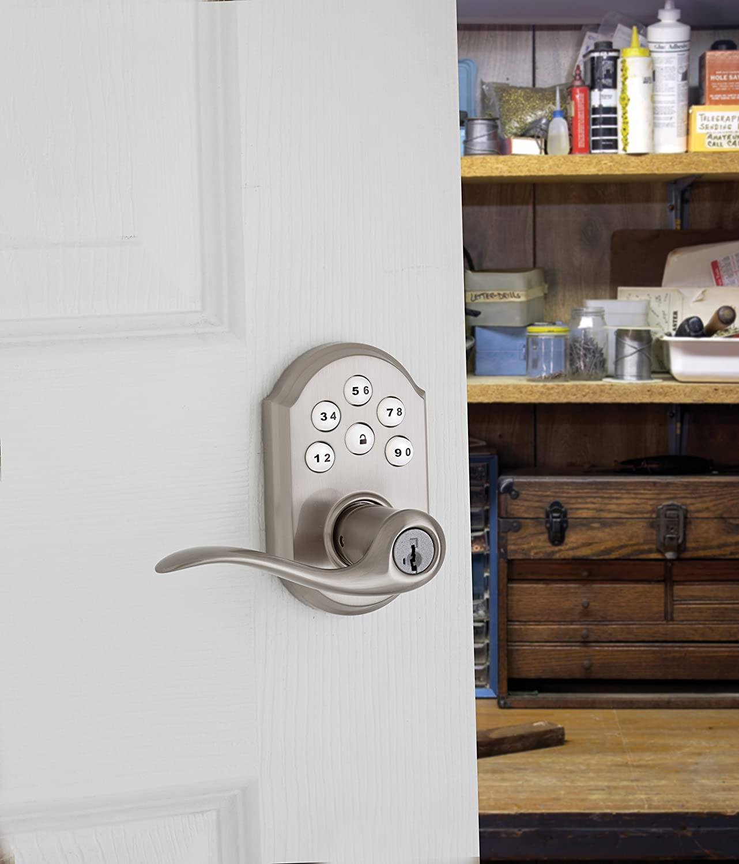 Venetian Bronze Kwikset 99110-009 SmartCode Electronic Lock with Tustin Lever Featuring SmartKey