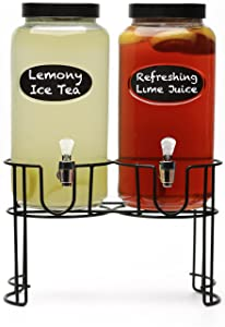 Circleware 69112 Chalkboard Double Yorkshire Mason Jar Glass Beverage Dispensers with Metal Stan Glassware for Water, Iced Tea Kombucha, Punch and all type of Cold Drinks, 118 ounces each