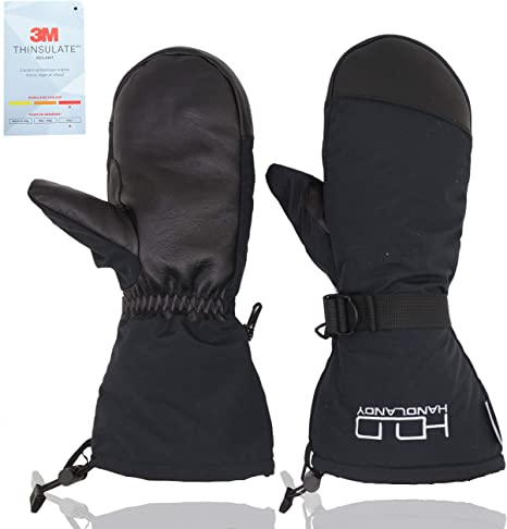 OZERO ski mitt,winter mittens with leather palm,3M thermal Thinsulate Insulation and adjustable belts for keeping mens and womens hands warm,1 pair