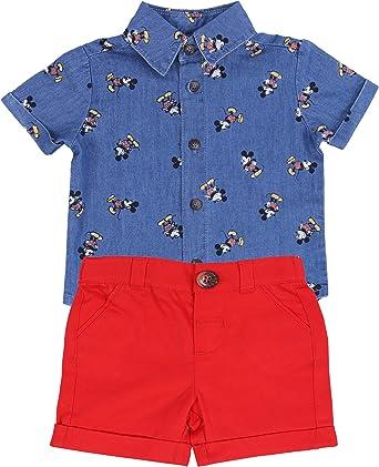 Camisa + Pantalones Cortos Rojos Mickey Mouse Disney: Amazon ...
