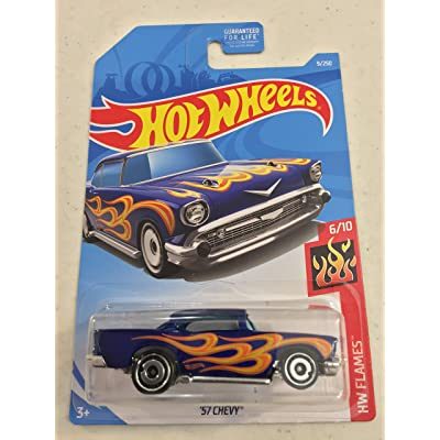 "Hot Wheels 2020 '57 Chevy HW Flames 5/10"" Collector # 009/250 Blue USA Card: Toys & Games"