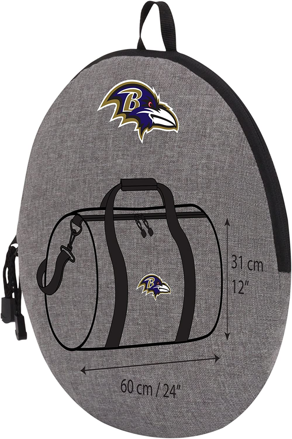 24 x 12 x 12 Gray Officially Licensed NFL Wingman Duffel Bag