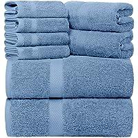 Juego de toallas de baño blancas clásicas de lujo azul claro – algodón peinado calidad hotelera absorbente 8 piezas…