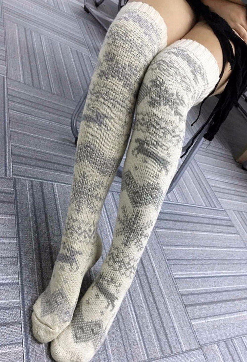 0b3b8e3fa Amazon.com  STORTO Women Christmas Knit Long Socks Casual Reindeer Over  Knee Warm Socks  Clothing