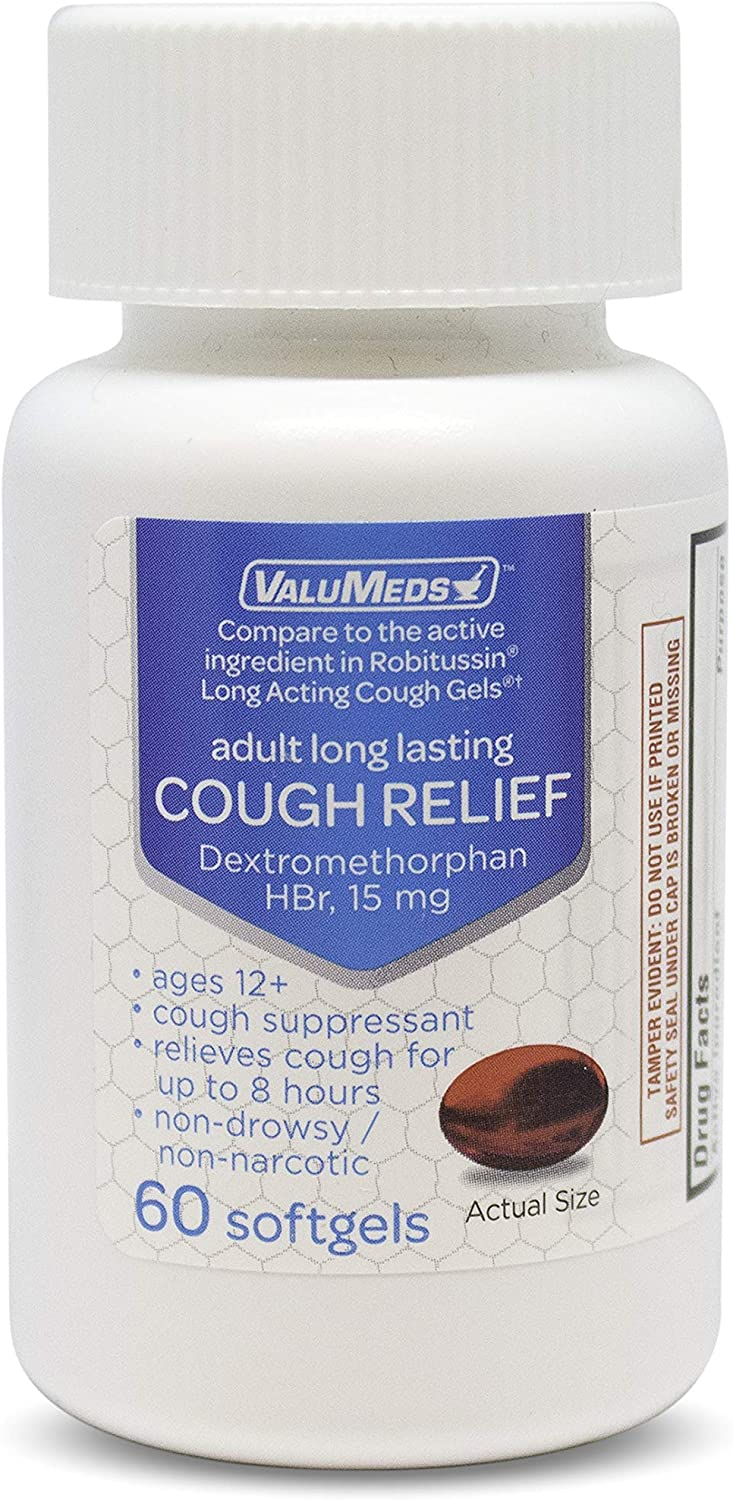 ValuMeds Adult Cough Relief for Adults Dextromethorphan HBr 15mg (60 Softgels) 8-Hour, Non-Drowsy, Long-Lasting Bronchial Suppressant