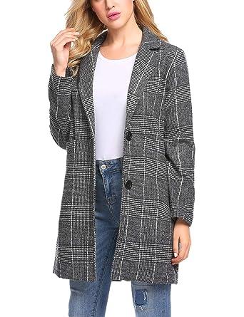 f6c4f62853 etuoji Women Casual Notch Lapel Plaid Single-Breasted Black Wool Blend Coat  Outerwear Top