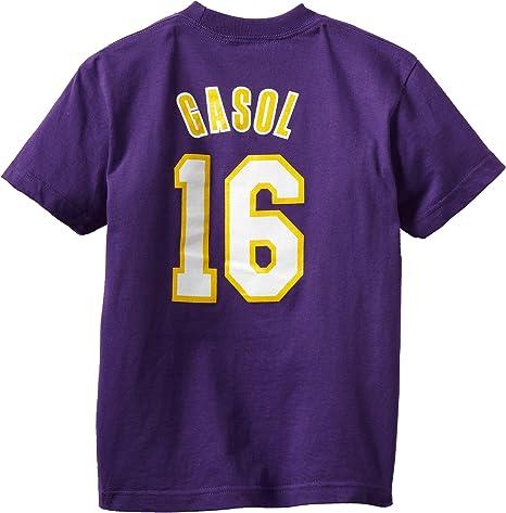 OuterStuff NBA Los Angeles Lakers PAU Gasol Youth 8 – 20 de Manga Corta Camiseta Juego Tiempo Soporte de, Infantil, Morado: Amazon.es: Deportes y aire libre