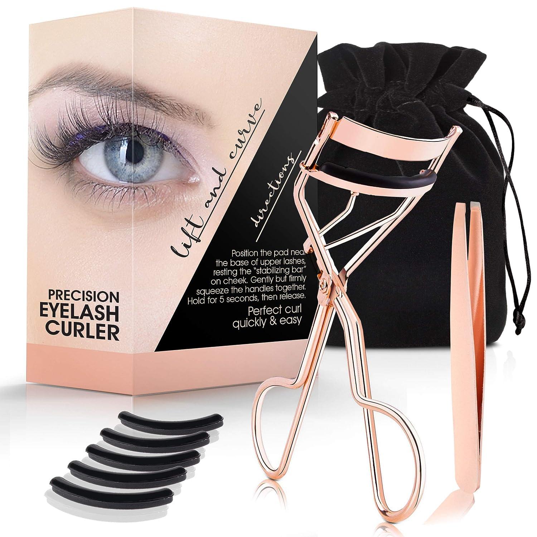 Eyelash Curler Kit (Rose Gold), Premium Lash Curler for Perfect Lashes, Eye Lash Curler with 5 Eyelash Curler Replacement Pads, Eye Lashes Curlers for All Eye Types, Eyelash Curler for Women