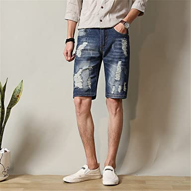 3b8d081a5a Henraly Men Denim Shorts Male Bermuda Ripped Skinny Jeans for Men ...