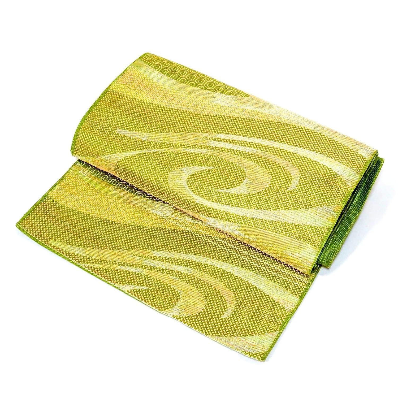 Nagoya Obi  Ceinture pour Kimonos de Couleur Verte Brillante, Conception de l'eau Courante, fabriquée au Japon 5619