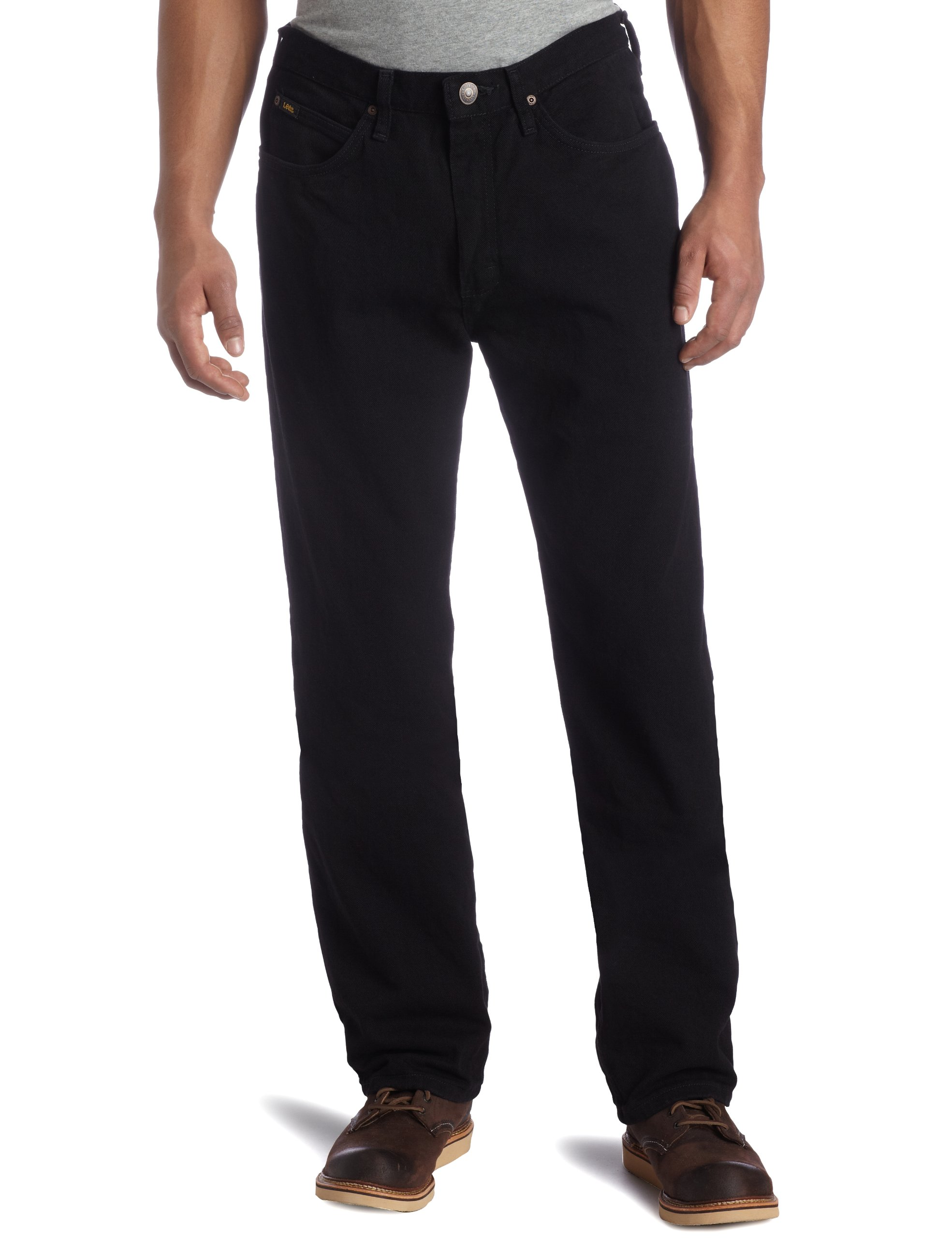 LEE Men's Relaxed Fit Straight Leg Jean, Double Black, 34W x 32L