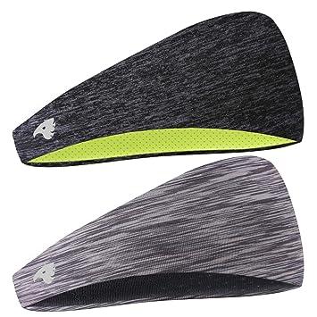 COOLOO Diadema para Hombres, 2 Pack Sweatband Deportiva para Hombre Mujer Unisex, Rendimiento Estiramiento y humectación para Correr Gym Tennis Basketball: ...