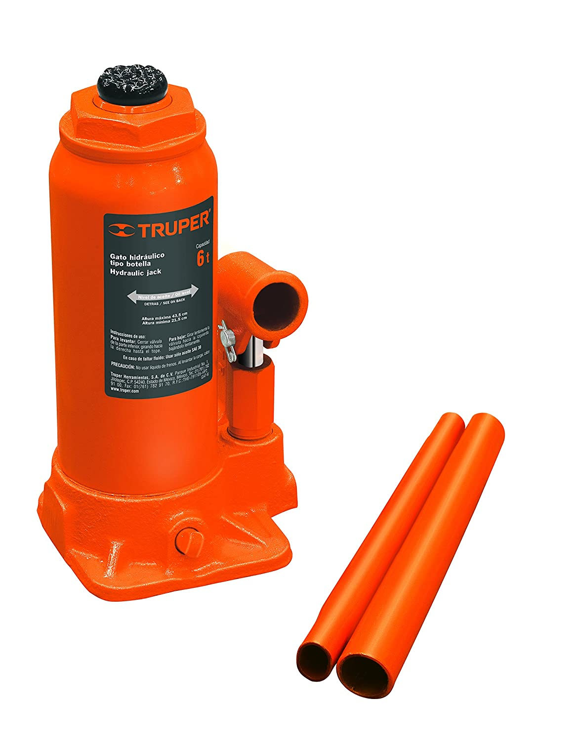 Amazon.com: TRUPER GAT-6 6-Ton Hydraulic Bottle Jacks 17 1/8 ...