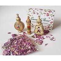 Perfumes de aceite de rosa búlgara 3 viales de madera + flores de rosa seca, pequeño regalo