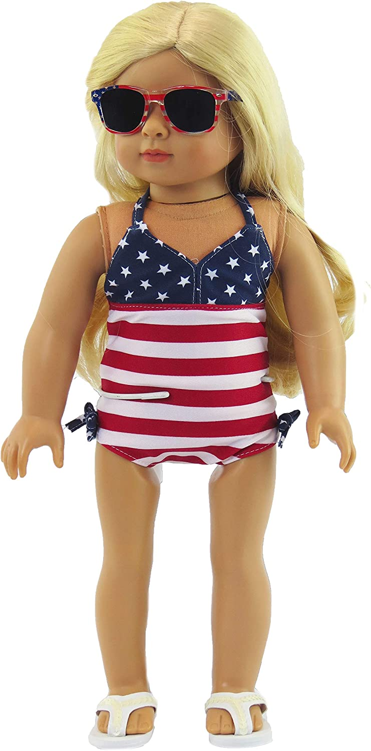 """Doll Clothes 18/""""  Bathing Suit Black White Polka Dot Fits 18/"""" AG Dolls"""