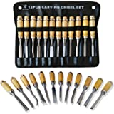 MARKETTY Professional Wood Carving Chisel Set - 12 Piece Sharp Woodworking Tools w/ Carrying Case - Great for Beginners